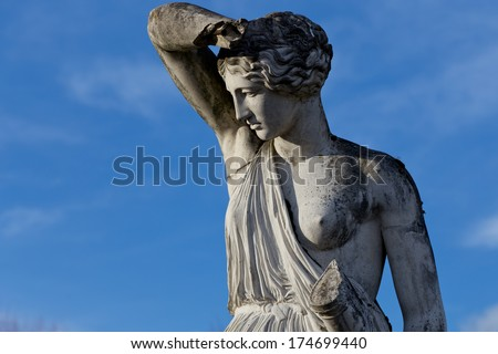 Statue of a goddess carved in marble. - stock photo