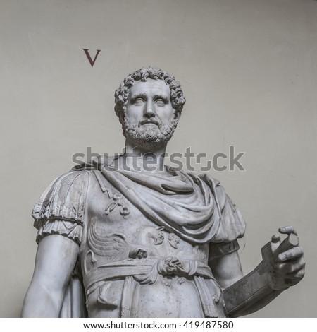 Statue of a nobel roman man, Rome, Italy, 2016 - stock photo
