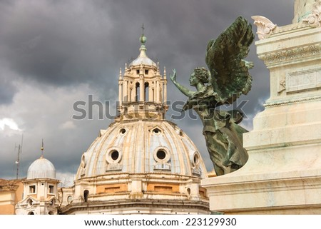 Statue of a winged woman in the monument to Victor Emmanuel II. Piazza Venezia, Rome - stock photo