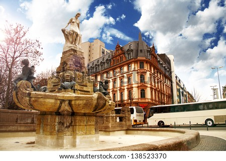 Statue of a Woman in Frankfurt am Main, Germany - stock photo