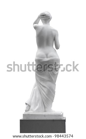 Statue of a woman look back isolated on white background. - stock photo