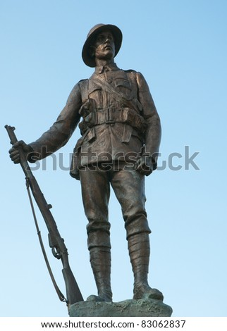 Statue of a WWI soldier in Winchester - stock photo