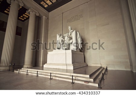 Statue of Abraham Lincoln at Lincoln Memorial, Washington DC, District of Columbia, USA, HDR, Vintage filtered style