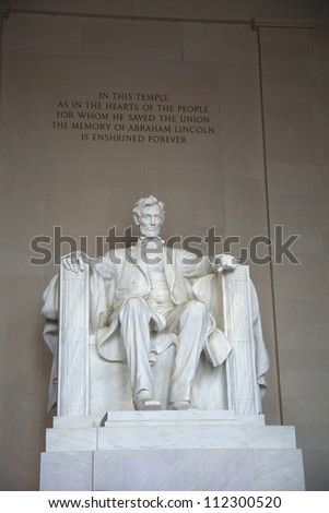 Statue of Abraham Lincoln at the Lincoln Memorial in Washington DC