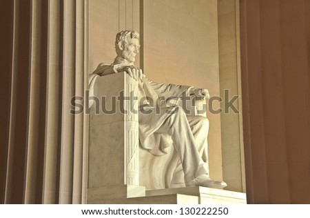 Statue of Abraham Lincoln at the Lincoln Memorial. National Mall, Washington DC - stock photo