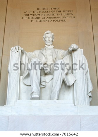 Statue of Abraham Lincoln at the Lincoln Memorial, Washington DC