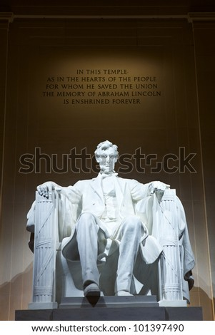 Statue of Abraham Lincoln at the Lincoln Memorial, Washington DC, USA - stock photo