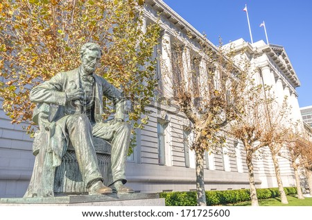 Statue of Abraham Lincoln in Front of City Hall in San Francisco - stock photo