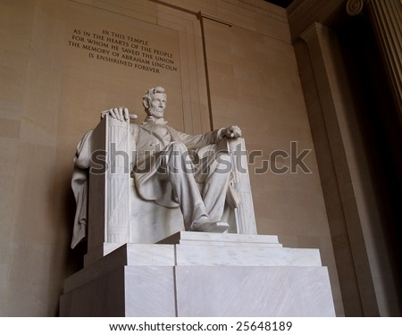 Statue of Abraham Lincoln in the Lincoln Memorial in Washington DC. - stock photo