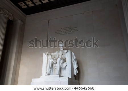 Statue of Abraham Lincoln in Washington D.C., U.S.A.
