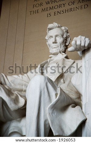 Statue of Abraham Lincoln in Washington DC - stock photo