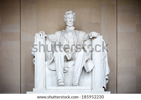 Statue of Abraham Lincoln, Lincoln Memorial, Washington DC - stock photo