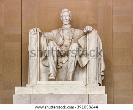 Statue of AbrahamLincoln in Memorial in Washington - stock photo