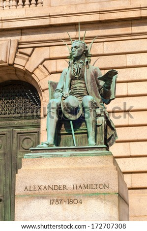 Statue of Alexander Hamilton in front of the Cuyahoga County Courthouse in Cleveland Ohio - stock photo