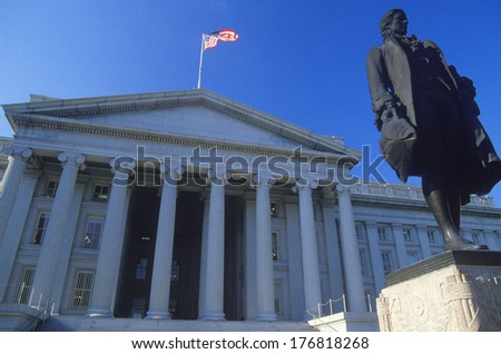 Statue of Alexander Hamilton in front of the United States Department of Treasury, Washington, D.C. - stock photo