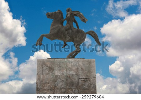 Statue of Alexander the Great at Thessaloniki city. Greece - stock photo