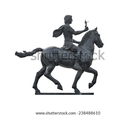 Statue of Alexander The Great Riding on Horse Isolated on White Background - stock photo