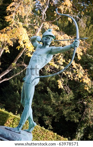 Statue of an archer in Sanssouci garden, Potsdam, Germany - stock photo