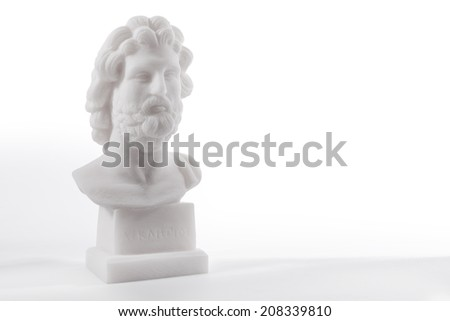 Statue of ancient Greek god of medicine and healing Asclepius, isolated on white background - stock photo