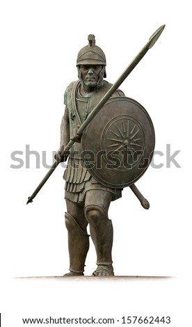 Statue of ancient Macedonian hoplite  from Skopje main square  isolated on white