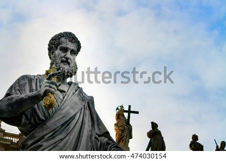 Statue of apostle Peter in front of the Basilica of St. Peter, Vatican