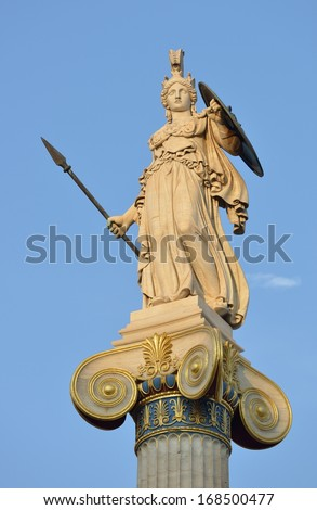 Statue of Athena at the Academy of Athens, Athens city, Greece