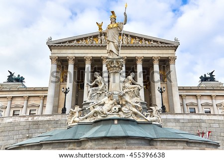 Statue of Athena, the greek goddess of wisdom in front of the Austrian Parliament Building in Vienna