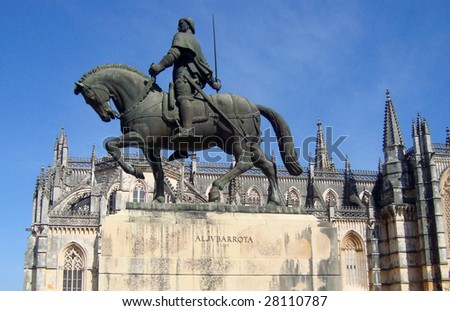 Statue of bronze knight on a horse, Portugal