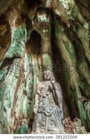 Statue of Budda in Marble Mountains complex near Da Nang city, Vietnam.
