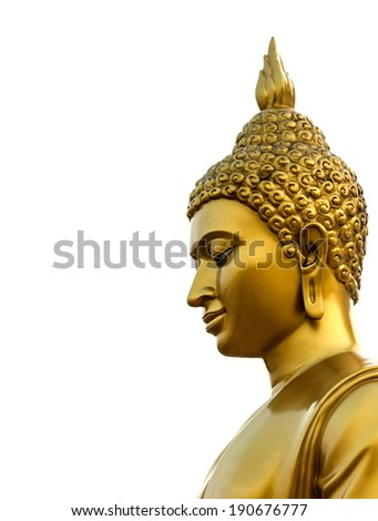 Statue of Buddha at peace on white background