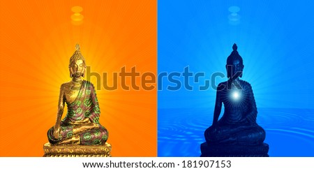 statue of buddha,blue sky and  sunset background
