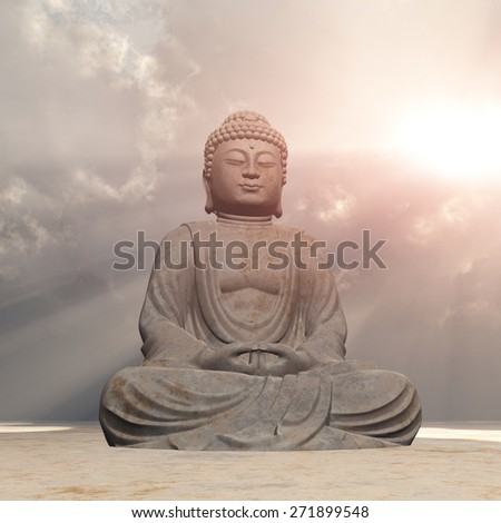 Statue of Buddha Computer generated 3D illustration - stock photo