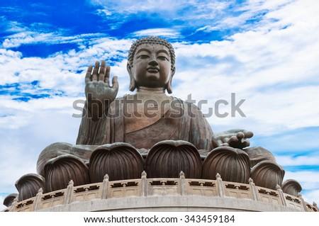 Statue of Buddha in Hong-Kong - stock photo