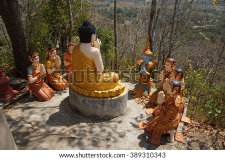 Statue of Buddha preaching to his disciples,  Sambuk Mountain Monastery, Kratie,  Cambodia