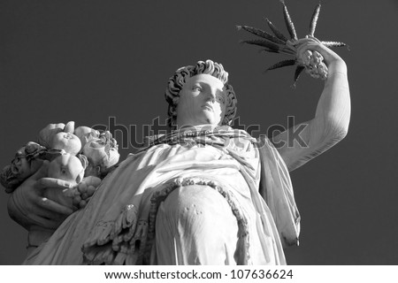 Statue of Ceres ( greek Demeter ) ancient roman goddess in Gardens of Boboli in Florence, Tuscany, Italy, Europe - stock photo