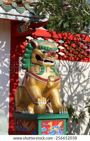 Statue of Chinese dragons in the temple in Thailand - stock photo