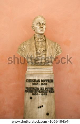 Statue of Christian Doppler at Vienna university - stock photo