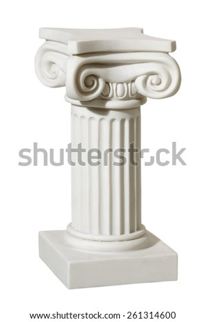 Statue of columns in Greek style, a modern copy of plaster. Isolated background - stock photo