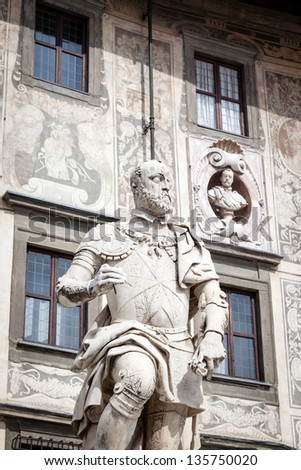 Statue of Cosimo I de Medici, Grand Duke of Tuscany, Pisa, Italy - stock photo