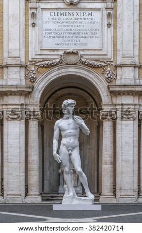 Statue of David by Michelangelo in Rome, Italy - stock photo