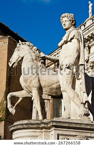 Statue of dioscure on the Campidoglio, Rome, Italy - stock photo