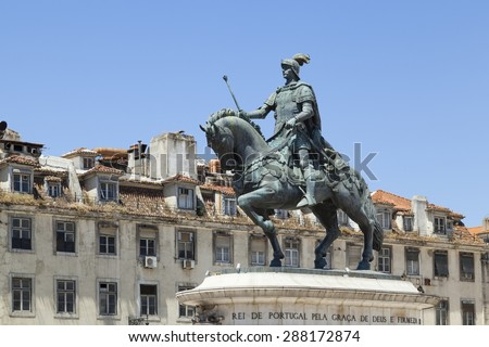 Statue of Dom Joao I in Praca da Figueira in Rossio in Lisbon City.