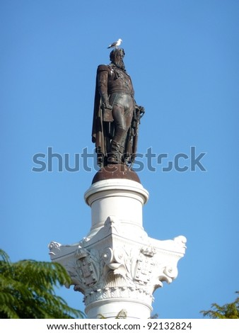 Statue of Don Pedro IV on the Don Pedro square also called Rossio in Lisbon in Portugal - stock photo