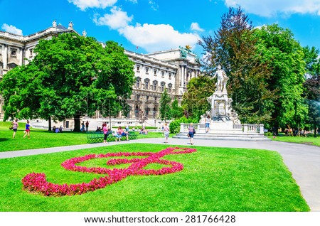 Statue of famous composer Wolfgang Amadeus Mozart in the Burggarten, Vienna, Austria - stock photo