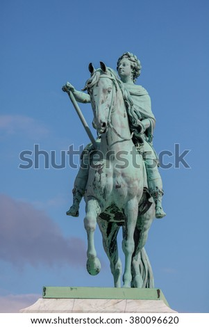 Statue of Frederick V by Jacques Franancis Joseph Saly at the centre of the Amalienborg Palace Square in Copenhagen, Denmark
