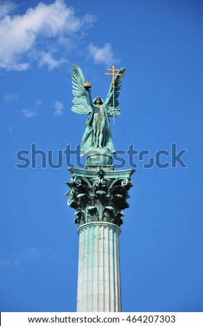 Statue of Gabriel Archangel in Square of Heroes, Budapest