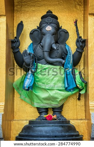 Statue of Ganesha in Sri Veeramakaliamman Temple in Little India, Singapore