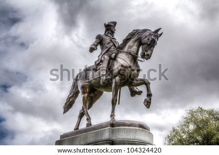 Statue of George Washington, Boston Public Garden - stock photo