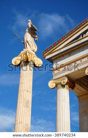 Statue of Goddess Athena (aka Minerva) at the Academy of Athens - stock photo