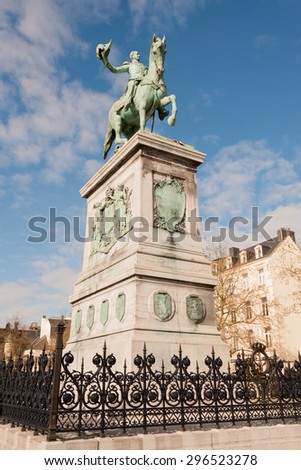 Statue of Grand Duke William II on Place Guillaume II, Luxembourg City - stock photo